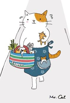 This mama cat has just come home from the market with some groceries, but she's got her kittens in tow as well. See? She's sweating from it all! Let's give this working mama cat a hand of applause.