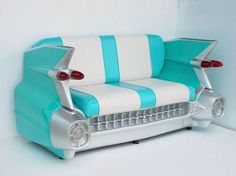 59 Cadillac Sofa in Turquoise (comes with working tail lights, fiberglass body, and vinyl seats)