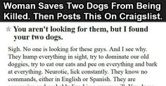 Woman Saves Two Dogs Then Posts This On Craigslist. Someone Give Her A Medal.