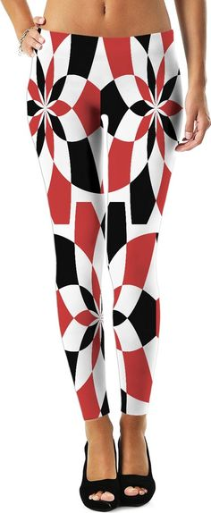 Red and black geometric theme leggings design, Harley Quinn style curves, circular shapes pattern - item printed by www.rageon.com/a/users/casemiroarts - also available at www.casemiroarts.com
