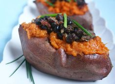 From our blog -- Loaded Sweet Potatoes with Black Beans are a great source of protein. A filling recipe perfect for Phase 1 or Phase 3 of the Fast Metabolism Diet (works great for D-Burn, too)