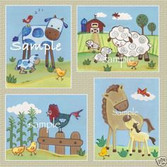 Countryside/farm animals /Nursery/Kids/Baby bedding Art