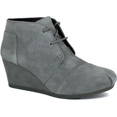 Skechers Women's Bobs High Notes Behold Grey - 6 M Women's Shoes ($70) ❤ liked on Polyvore featuring shoes, boots, ankle booties, grey, lace up boots, lace up ankle boots, gray booties, grey wedge boots and wedge booties