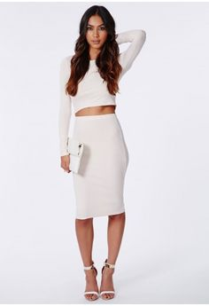 Missguided - Pearl Vertical Ribbed Midi Skirt Nude