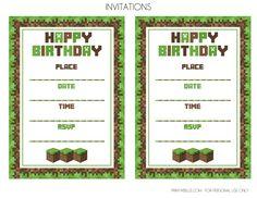 minecraft birthday party invitation ideas - Google Search