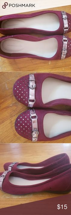 Solesensability ruby red flats with silver detail Adorable red Solesensability flats with silver buckle and dot details.  Suede leather. Worn once. Size 10.  $15. solesensability Shoes Flats & Loafers