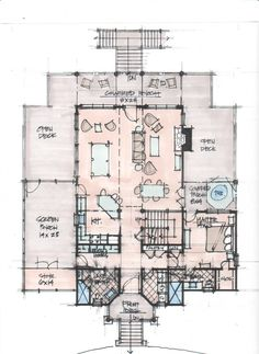 Architecture, Marvelous Floor Plan Design Ideas and Inspirations: Exciting House Floor Plan Sketch Design With Comfortable Open Deck Area