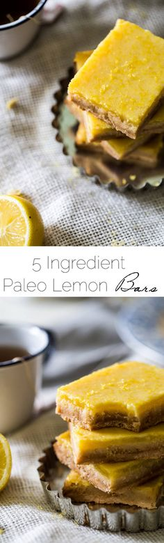 Paleo Lemon Bars - A healthy, grain/refined sugar free remake of the classic! SO easy and only 5 ingredients!   Foodfaithfitness.com   @FoodFaithFit