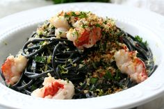Squid Ink Pasta with Buttery Lobster is the perfect dish to serve around Halloween. It's hauntingly beautiful and delicious. How To Cook Lobster, How To Cook Pasta, Easy Italian Meatballs, Squid Ink Pasta, Baked Squash, Creamy Tomato Sauce, Roasted Mushrooms, Drying Pasta, Eggplant Recipes