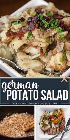 German Potato Salad is vinegar based and loaded with bacon and lots of fantastic flavor. It's sure to be everyone's favorite side dish at your next potluck! Wardolf Salad Recipe, Pasta Salad Recipes, Healthy Salad Recipes, Potato Salad Recipes, Tofu Recipes, Turkey Recipes, Chicken Recipes, German Potatoes, Gourmet