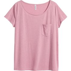 H&M Top (1015 DZD) ❤ liked on Polyvore featuring tops, t-shirts, shirts, h&m, pink top, pink jersey, pink short sleeve shirt, tee-shirt and pink shirts