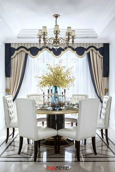Contrasting colors create a beautiful, striking dining room Tall Curtains, Curtains With Blinds, Valances, Kitchen Diner Extension, Happy New Home, Tiny House Bathroom, Window Coverings, Decoration, Furniture Design