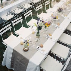 I love the grey runner on the while linens... makes the colors really pop.