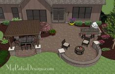 backyard patio with pergola, fire pit, and bar by the grill #pergolafirepit