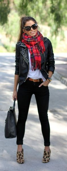 Edgy Moto Jacket Red Plaid Scarf with Animal Print Shoes...It's cool. Classic white blouse with skinny black ankle pants...It works. Well, done.