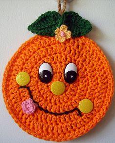 Crochet Happy Orange, wall deco, by Jerre Lollman
