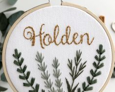 Cross stitch baby name, embroidery hoop art, nursery decor, modern embroidery Name Embroidery, Embroidery Flowers Pattern, Embroidery Hoop Art, Cross Stitch Embroidery, Modern Embroidery, Embroidery Designs, Funny Embroidery, Halloween Embroidery, Geometric Embroidery