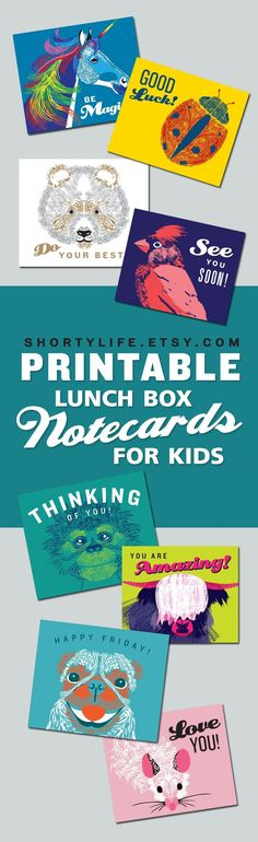 Printable lunchbox note cards for kids. A fast, fun, easy way to let your kid know you are thinking about them during the school day. Purchase from my etsy shop, download, and print your cute lunch bag notes all from the comfort of your home. All that's left is to slip one in your childs lunch box or backpack.Instant digital download, only $4.25.