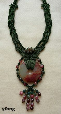 Green simple macrame necklace with blood agate pendant and colorful agate mix with green jasper..