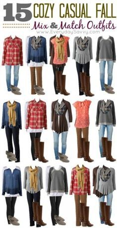 This fall mix and match fashion board was put together with cozy casual items from Kohls. These looks are simple but look great, plus all the pieces mix and match for 15 outfits!