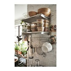 KUNGSFORS Suspension rail with shelf/wll grid – stainless steel – IKEA – open kitchen shelving ideas – gitter Wire Shelving, Open Shelving, Shelving Ideas, Wall Storage, Wall Shelves, Pot Storage, Kitchen Design, Kitchen Decor, Kitchen Ideas