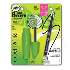 COVERGIRL Clump Crusher by LashBlast Mascara Very Black 800 ( .44 oz) and Perfect Point Plus Eye Pencil ( .008) Value Pack. The Clump Crusher brush delivers 200% more volume* with ZERO clumps for beautifully separated lashes! *vs bare lashes. Innovative curved brush features a lash loading section to saturate lashes with loads of product and fine-tooth comb bristles to evenly distribute the Mascara. Perfect Point Plus eye liner provides smooth blendable color in a self-sharpening liner…