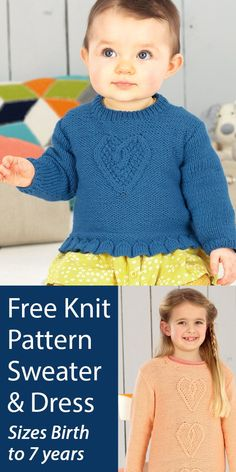 Free Heart Sweater and Dress Knitting Pattern Sirdar 4494 A cable heart is featured on this baby and child sized sweater and tunic dress. Sizes 0-6 Months, 6-12 Months, 1-2 Years, 2-3 Years, 4-5 Years, 6-7 years. Designed by Sirdar. DK weight yarn. Cable Knitting Patterns, Knit Patterns, Free Knitting, Baby Knitting, Heart Sweater, Dk Weight Yarn, Security Blanket, 5 Years, 12 Months