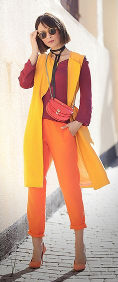 warm-colours-outfits for spring with chloe georgia bag and zara longline orange linen waistcoat Source by yellowgirl_at Womens Fashion Casual Summer, Womens Fashion For Work, Look Fashion, Fashion Tips, Georgia, Fashion Colours, Colorful Fashion, Zara, Estilo Unisex