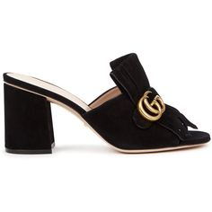 Gucci Black fringed suede mules (12.763.370 VND) ❤ liked on Polyvore featuring shoes, mule shoes, black mules shoes, slip-on shoes, slip on shoes and black high heel shoes