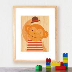 petit collage modern monkey print on wood