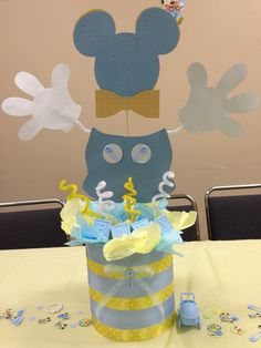 Delightful Mickey Mouse Baby Shower Party Centerpiece