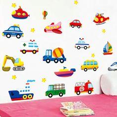 Cartoon Car DIY Wall Sticker Kids Room Decoration Art Decal Home Mural Aircraft Ship Wallpaper