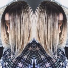 Love love love my hair❤️ Dark brown and blonde ombre. Angled lob.