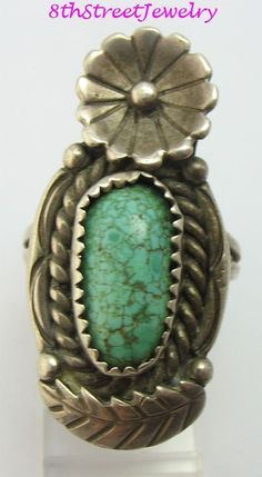 P James Southwestern Sterling Silver 925 Turquoise Flower Feather Ring Size 7 #PJames