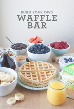 Build Your Own Waffle Bar... This would be a cute idea for breakfast at the lock in or other Youth event
