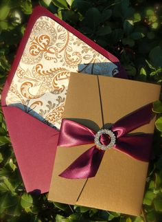 Burgundy and Gold Wedding Invitation by DancingPenandPress on Etsy, $100.00 www.dancing-pen.com