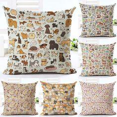 Cartoon Dog Christmas Printed Cotton Linen Pillowcase Decorative Pillows Cushion Use For Home Sofa Car Office Almofadas Cojines