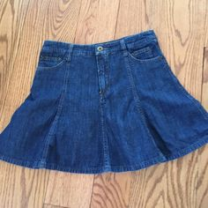 SALED & G denim skirt with pleats. Worn once D & G denim skirt. Great looking when on its very flowing and bouncy shape. A-line. Size 26/40. D&G Jeans