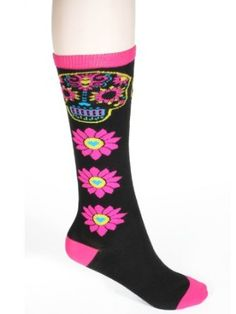 Black Neon Pink Sugar Skull Flowers Hearts Socks Fourever Funky. $14.98