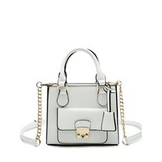 PU Leather Metallic Hasp Tote Bag (36 BAM) via Polyvore featuring bags, handbags, tote bags, metallic tote, white handbags, metallic handbags, tote bag purse and handbags totes
