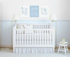 Baby Boy's Nursery Canvases - Set of 3 Stretched Canvas Art Prints - Blue & Gray Typography - Alphabet Numbers Playroom - from BySamantha on Etsy $64+