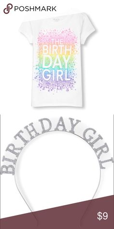 Girls Birthday Shirt And Glittered Headband White Sleeved T With Multi Colored Happy
