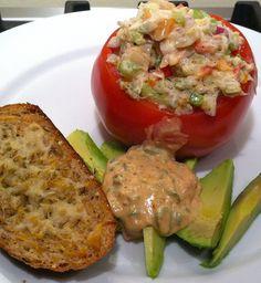 Crab & Shrimp Salad-stuffed Tomato with Remoulade Sauce