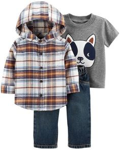 d3f404097 NWT Carters Baby Boy Clothes 3 Months 3 Piece Flannel Dog Shirt Jeans Outfit  Set #