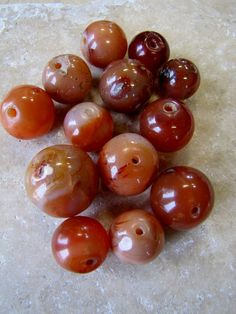 13 African Trade Bead Vintage Carnelian Largest 24mm Round Old Warbled Handmade Destash Sale Lower than Cost Britz Beads Supply
