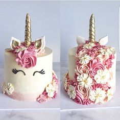 Amanda unicorn cake Watercolor boarder in pink