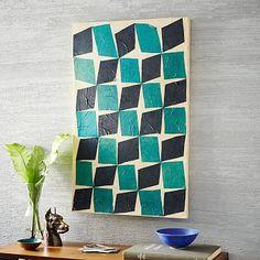 """24""""w x 2""""d x 36""""h. - $199 - Papier-Mache Wall Art - Teal + Navy Diamonds #westelm"""