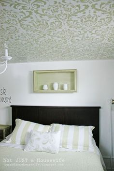 Stenciled Ceiling | Not JUST A Housewife