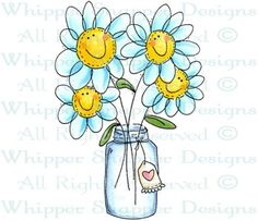 Daisies Smile Upon You - Whimsical - Floral/Garden - Rubber Stamps - Shop