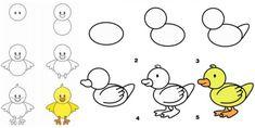 apprendre à dessiner avec des chiffres et des lettres : poussin à partir de grands cercles